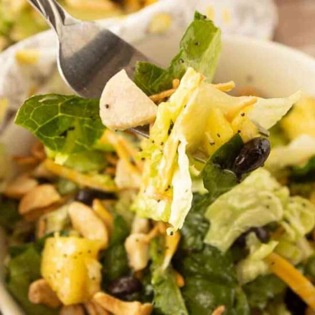 A forkful of caribbean chicken salad!