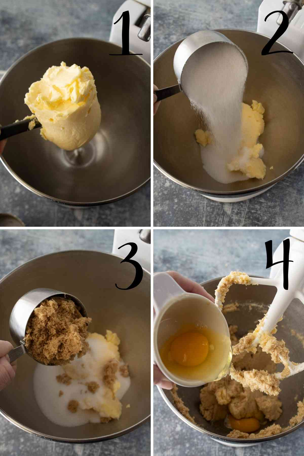 Shortening, sugars and eggs mixed in a mixing bowl.