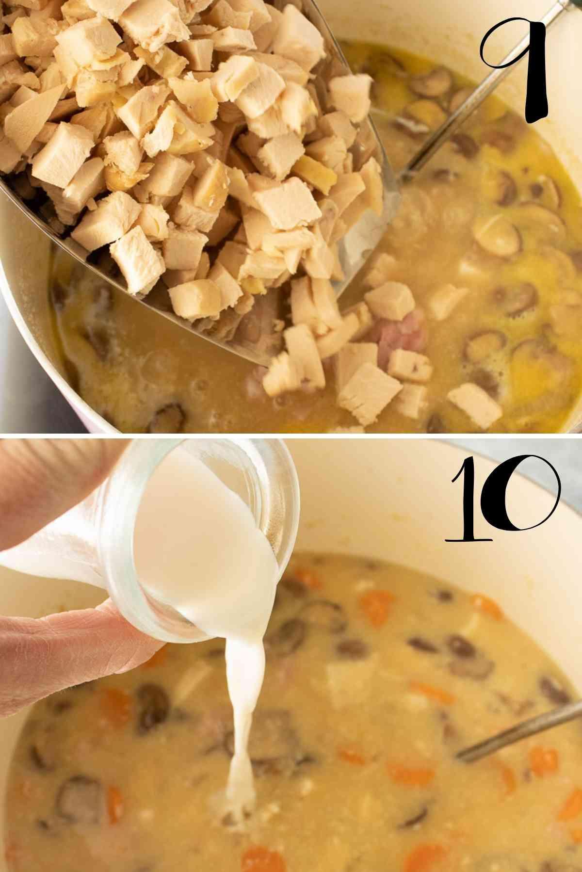 Adding of chicken and milk.