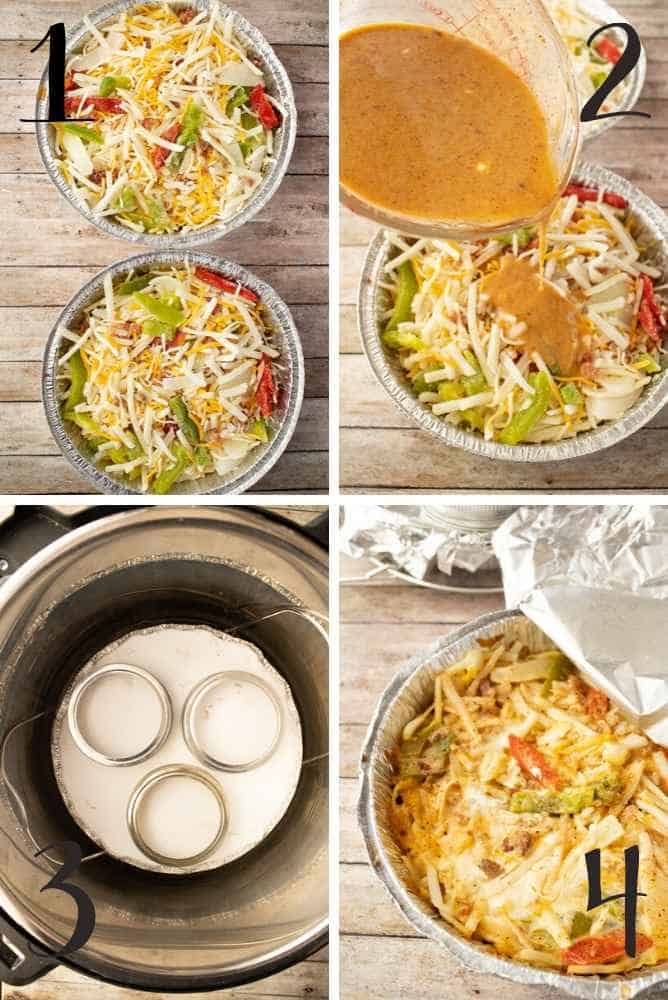Collage of steps to make this breakfast casserole