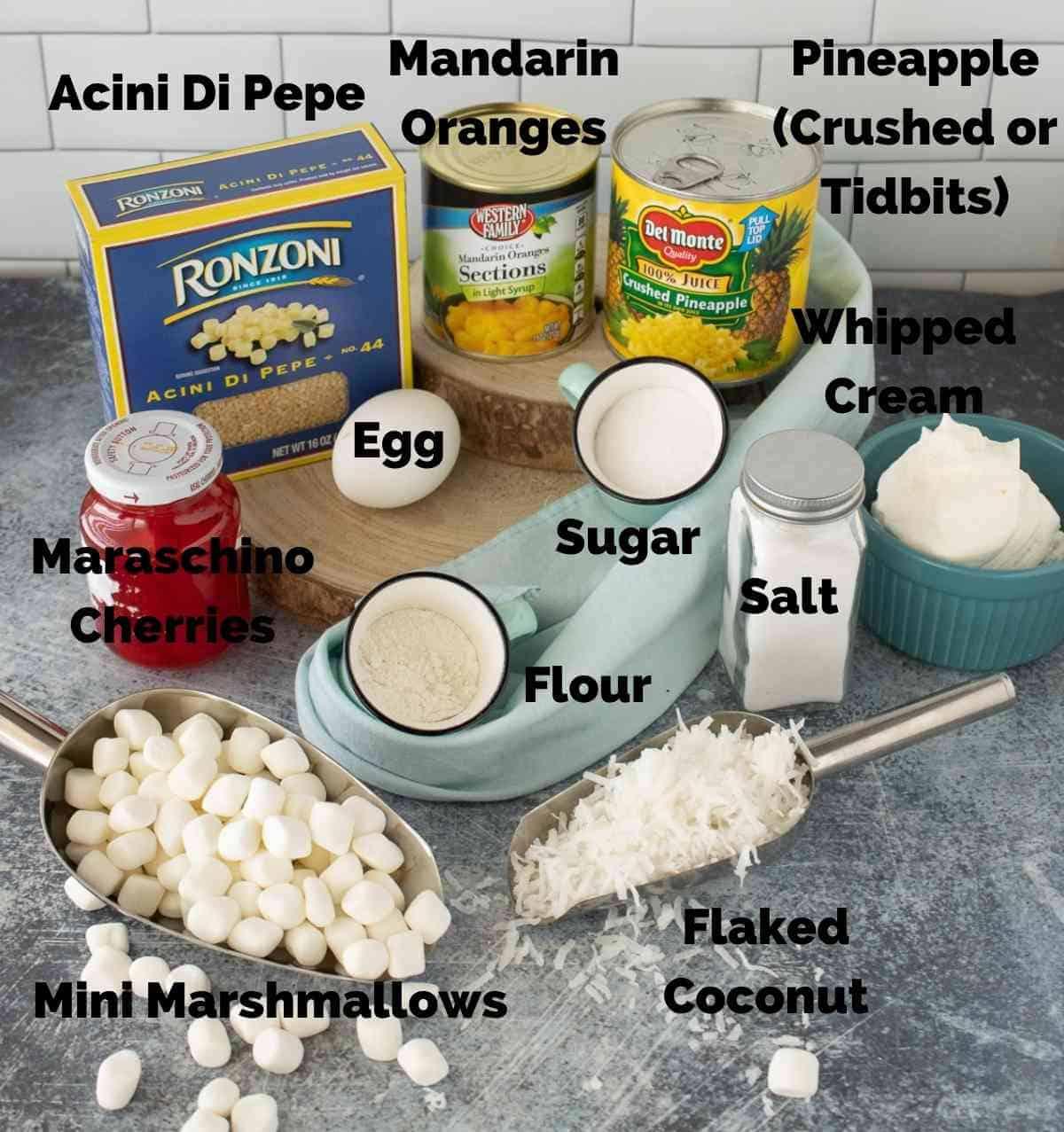 Ingredients for frog eye salad.