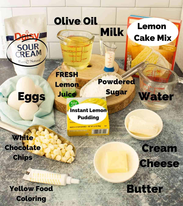 Ingredients for this lemon bundt cake