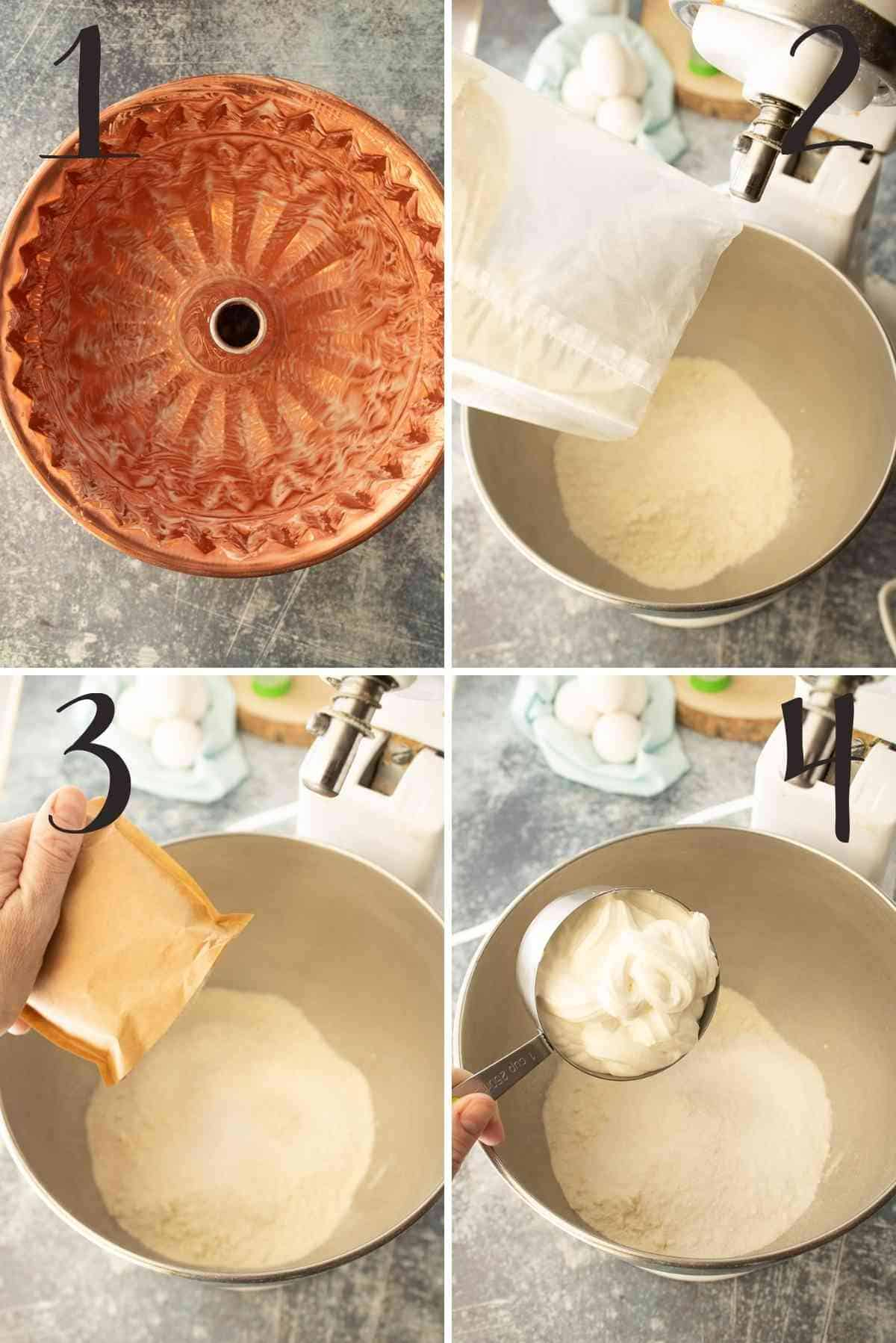 Greased bundt pan. Cake mix, pudding mix and sour cream added to a mixing bowl.