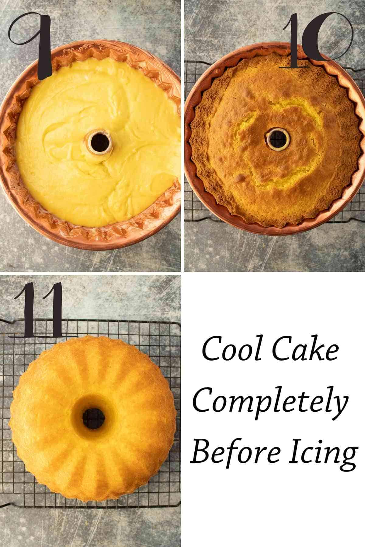 Unbaked batter in a bundt pan, then baked, then turned out to cool.