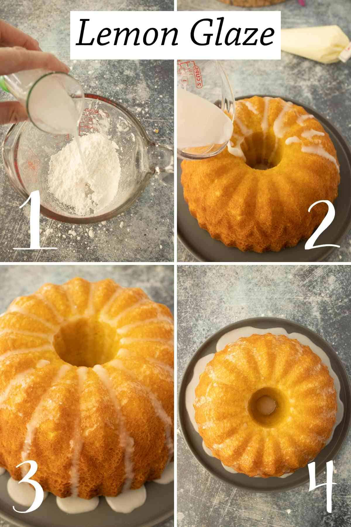 Making the lemon glaze and pouring it over the cake.