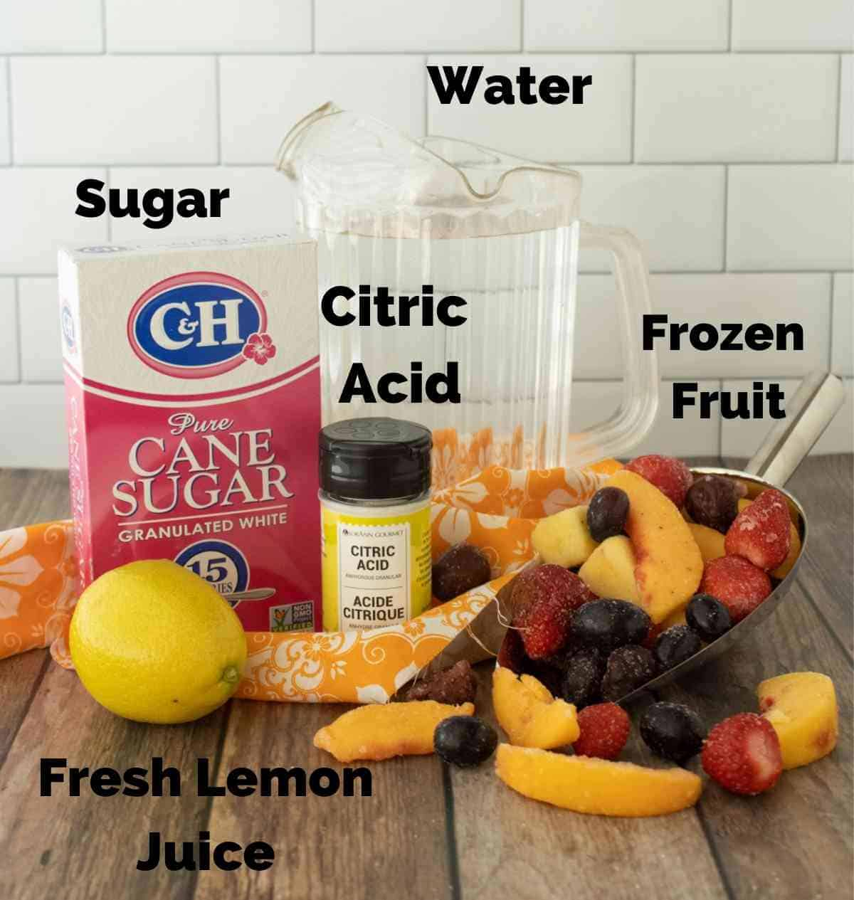 Ingredients to make this punch.