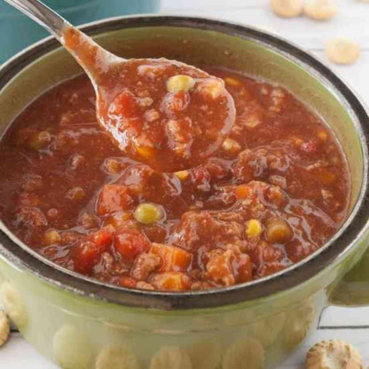 A big bowl of vegetable beef soup