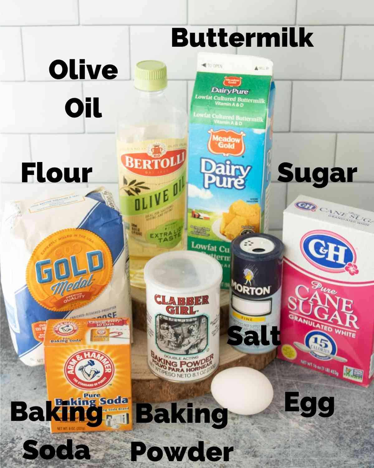 Ingredients for buttermilk pancakes.