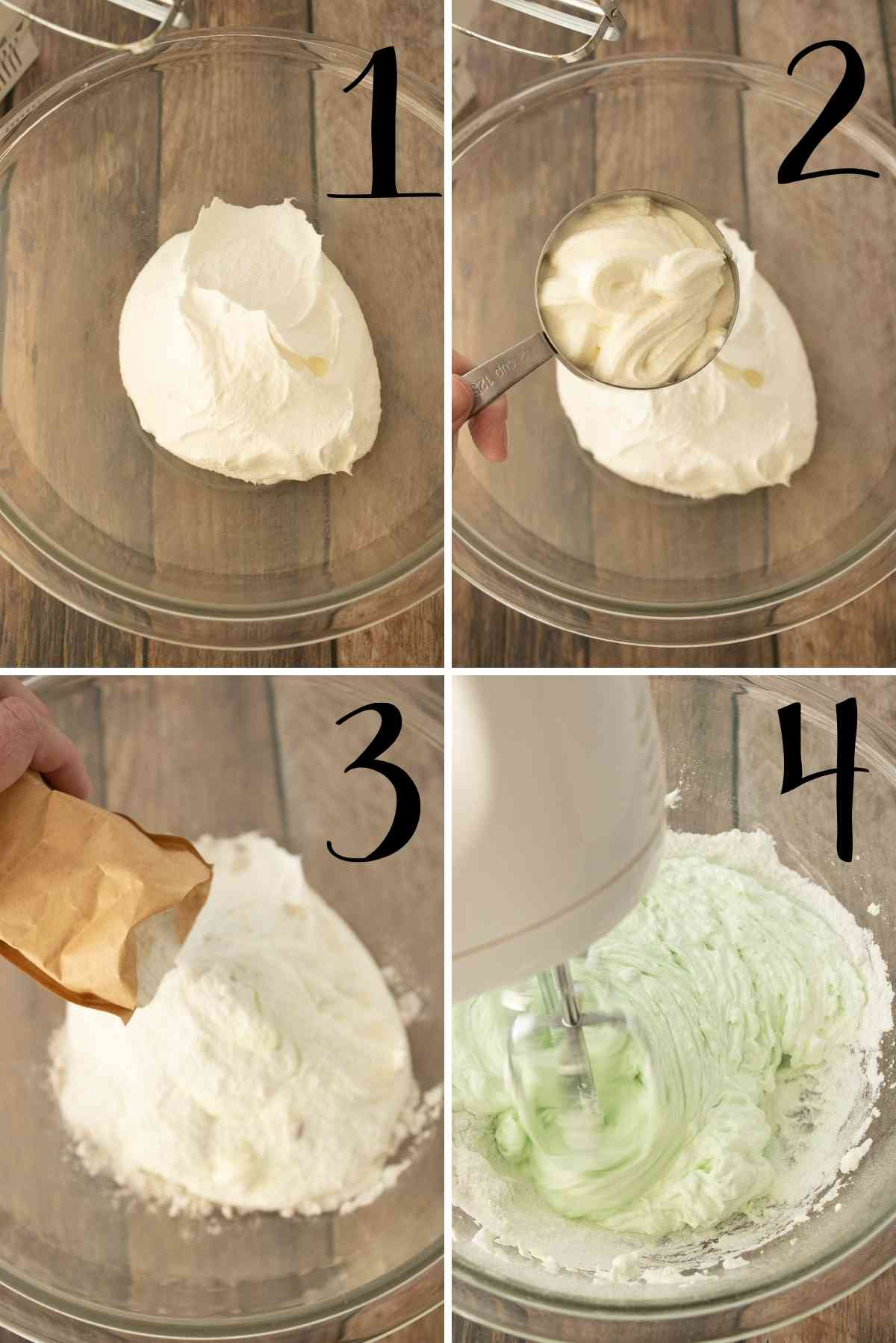 Beat cool whip, sour cream, and pudding mix together.