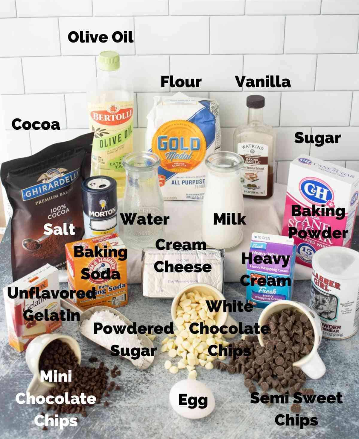 Ingredients for Black Tie Mousse Cake.