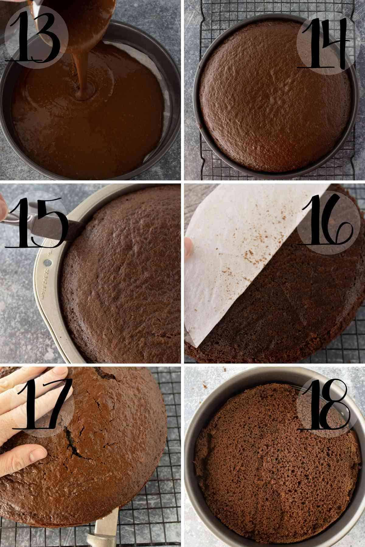 Pour the batter, bake, cool, level the top and place in a springform pan.