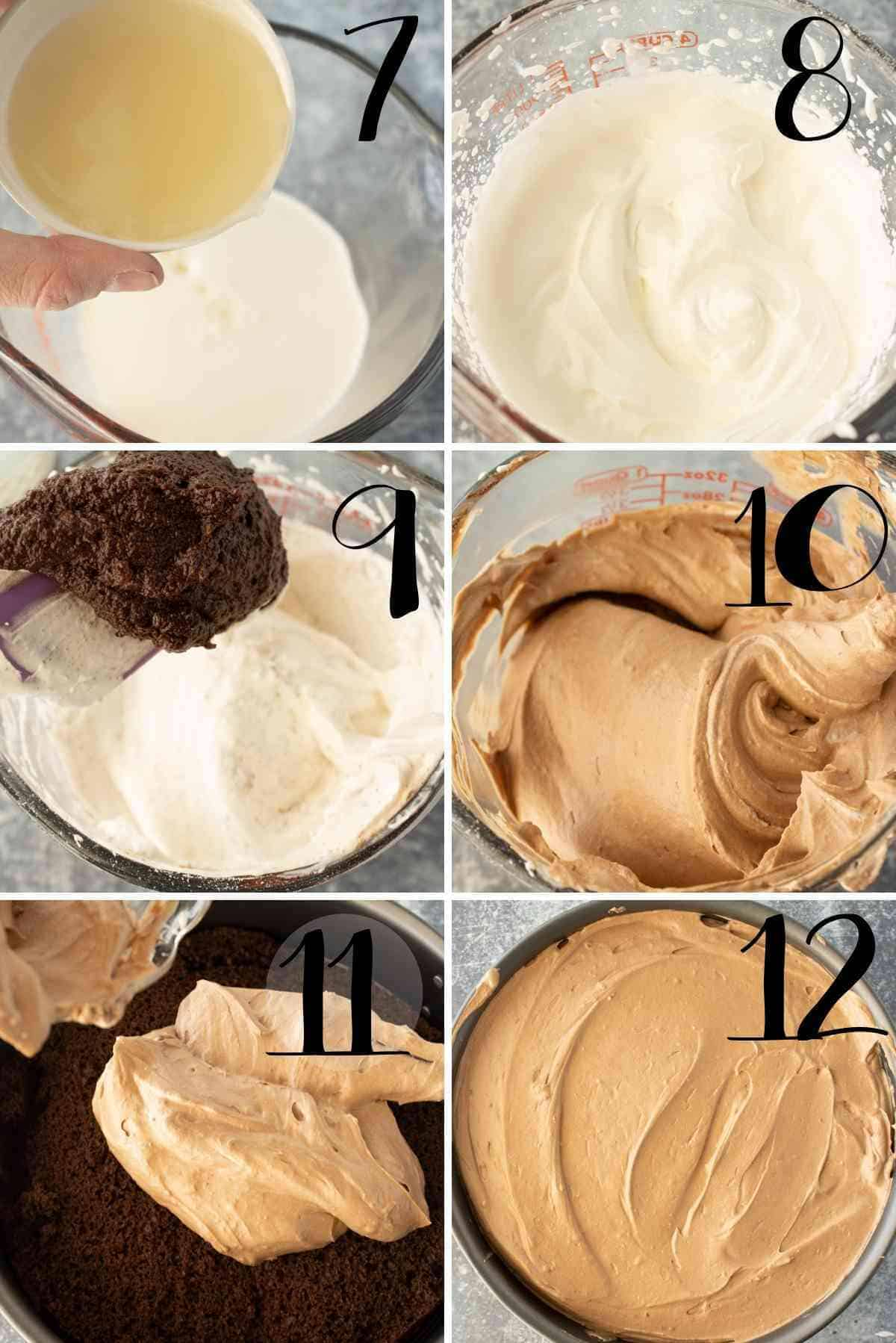 Chocolate cream cheese folded into the whipped cream and spread over the cake layer.