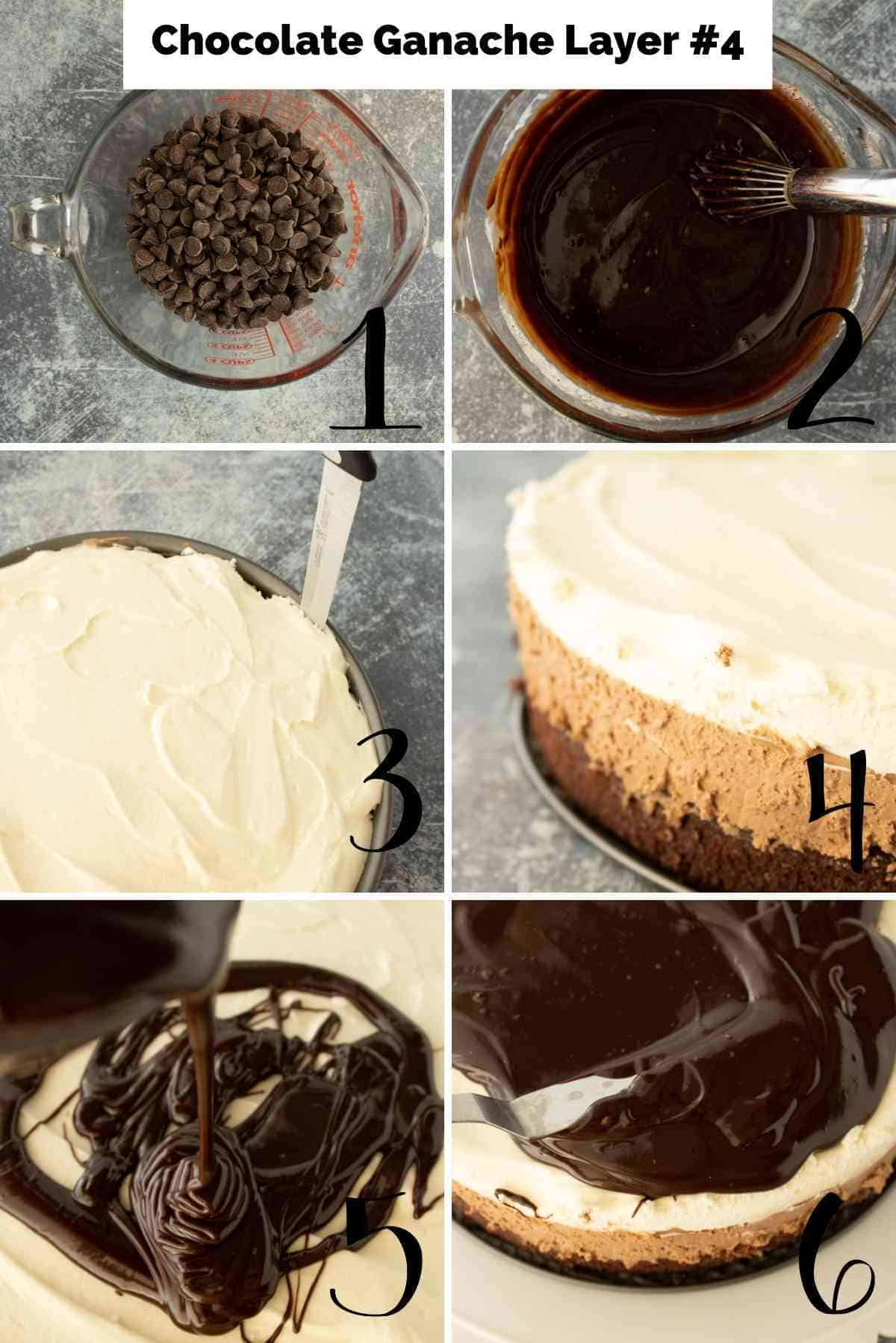Preparation of the ganache and pouring it over the cake.