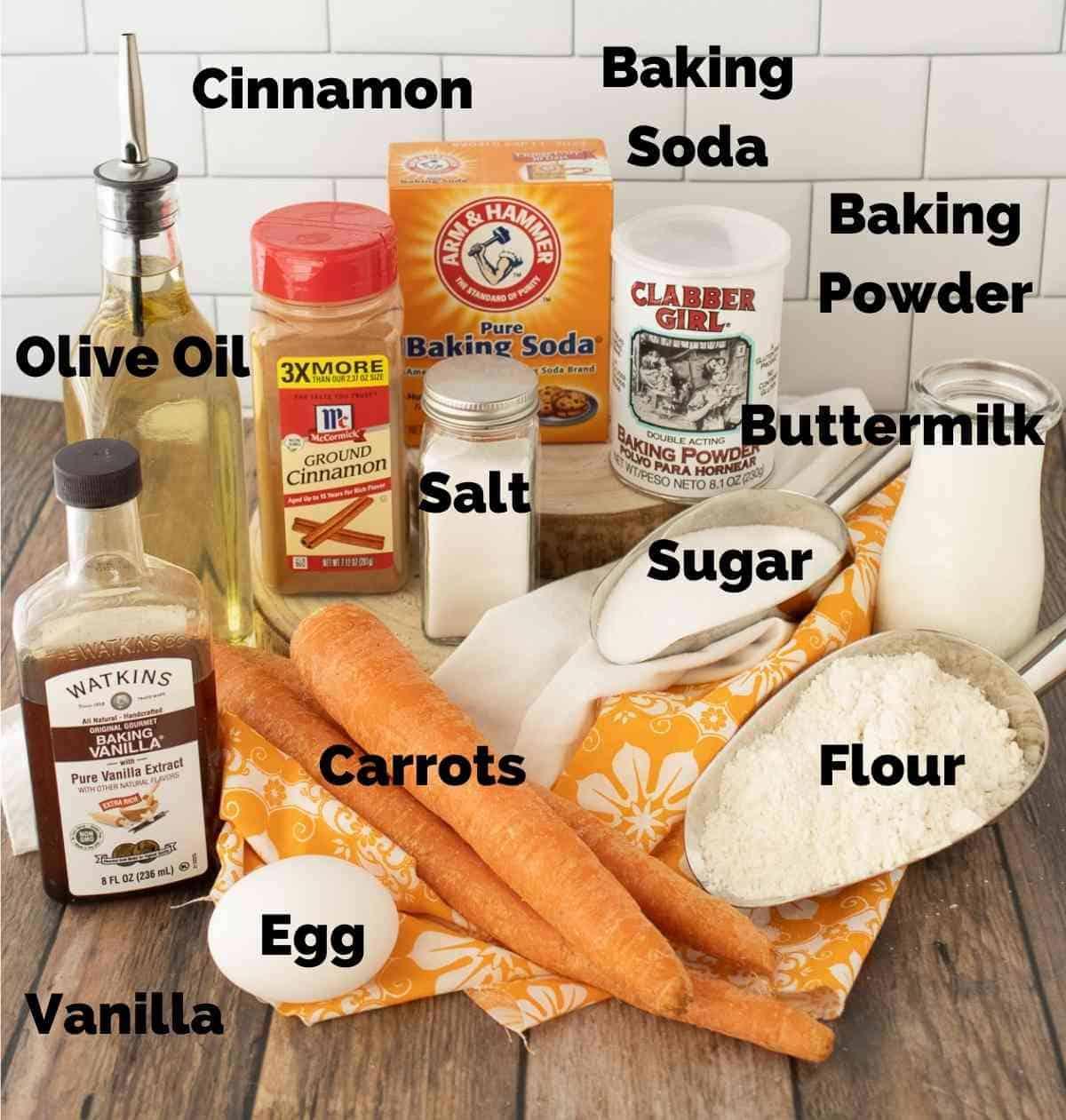 Ingredients for carrot cake pancakes.