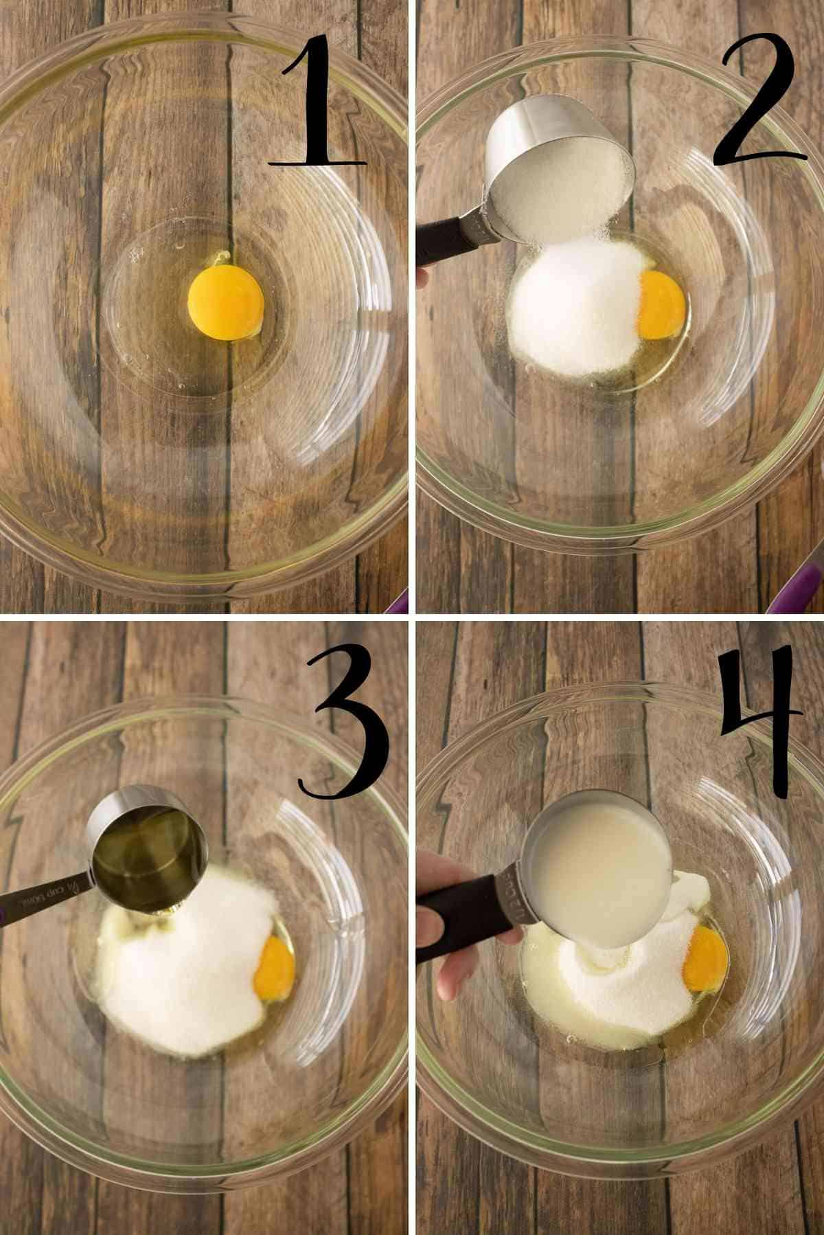 Egg, sugar, olive oil and buttermilk in a milking bowl.