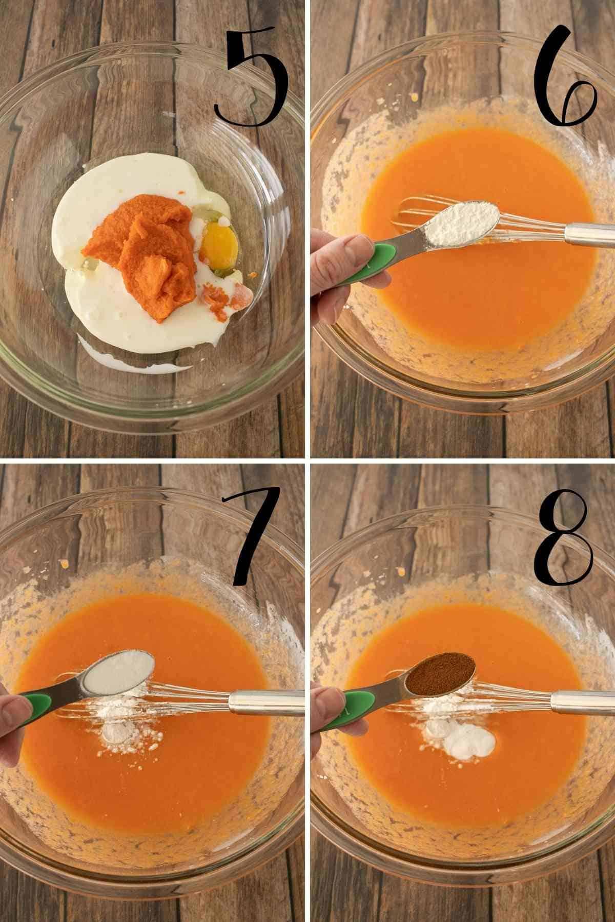 Add pureed carrots, baking powder, baking soda, and cinnamon.