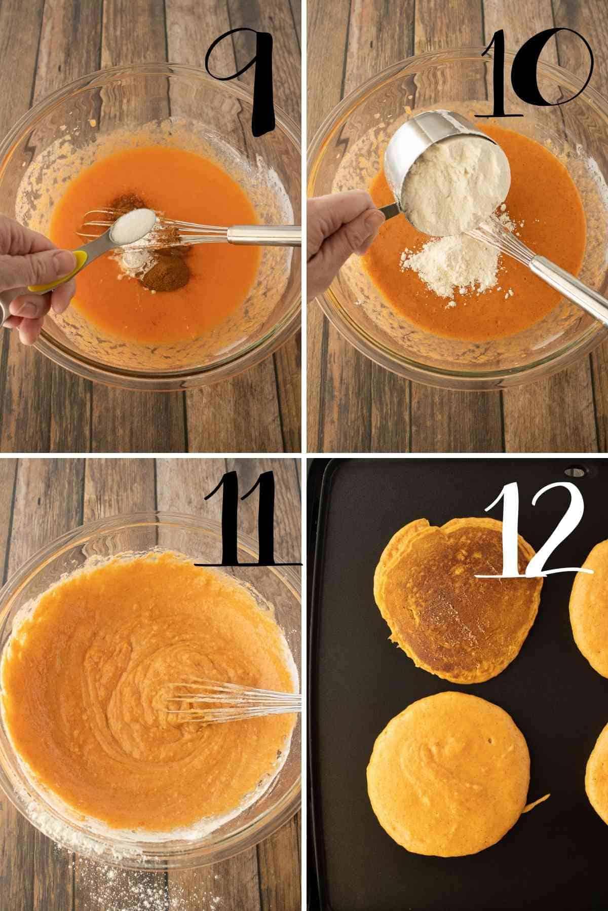 Add salt and flour.  Cook on a griddle.