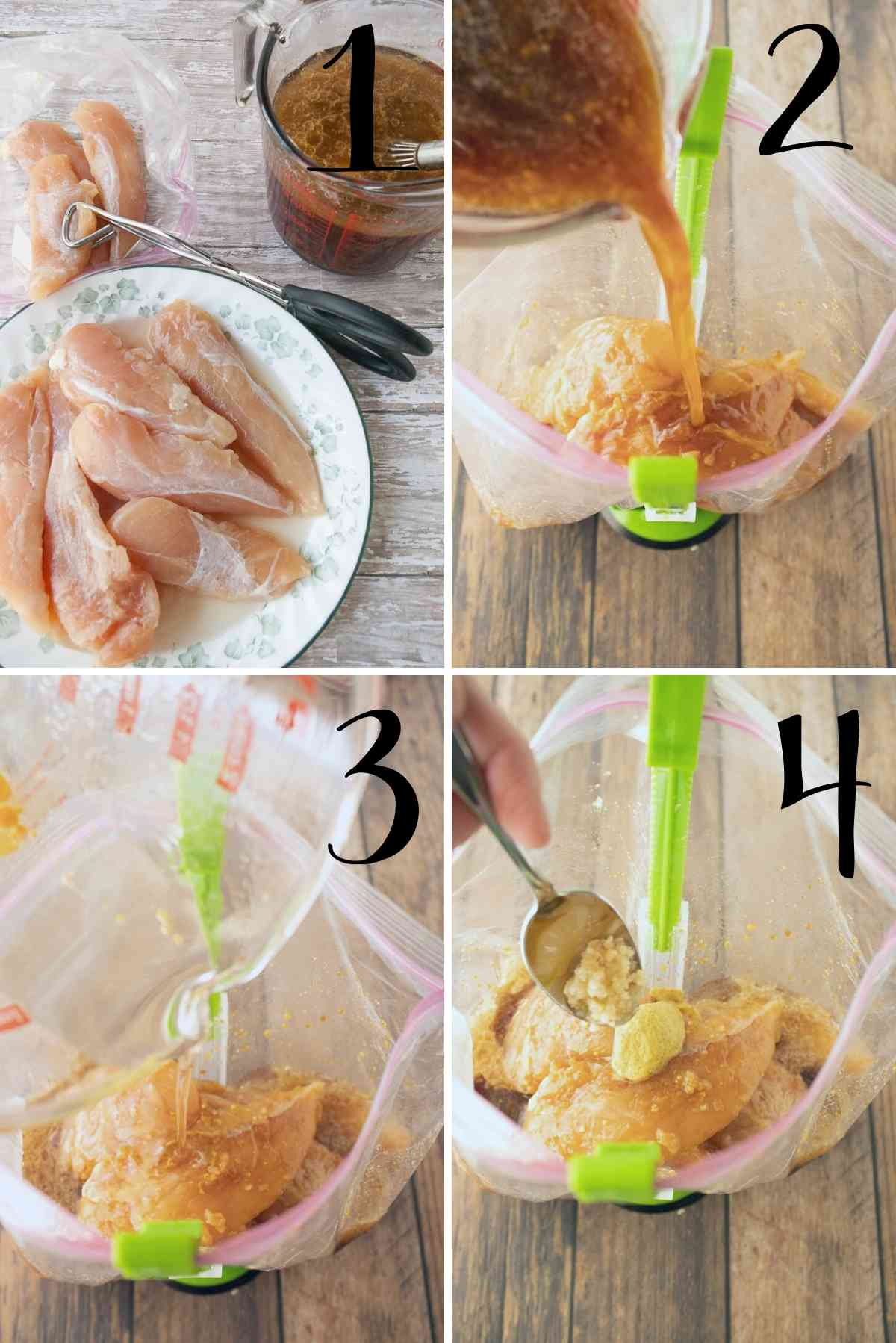 Raw chicken put in a gallon size bag with marinade ingredients being added to them.