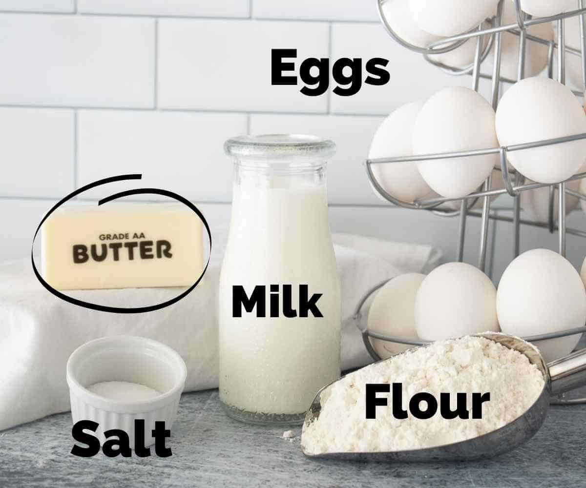 Ingredients for mini german pancakes.