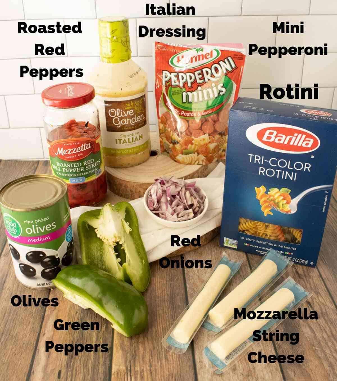Ingredients for Italian pasta Salad