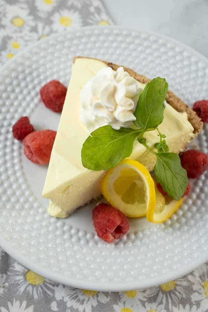 A slice of lemon cream pie.