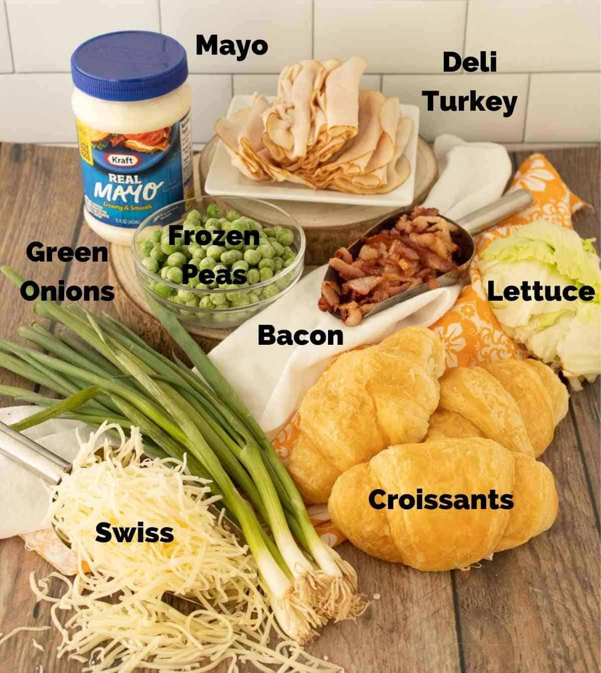 Ingredients for turkey salad croissants.
