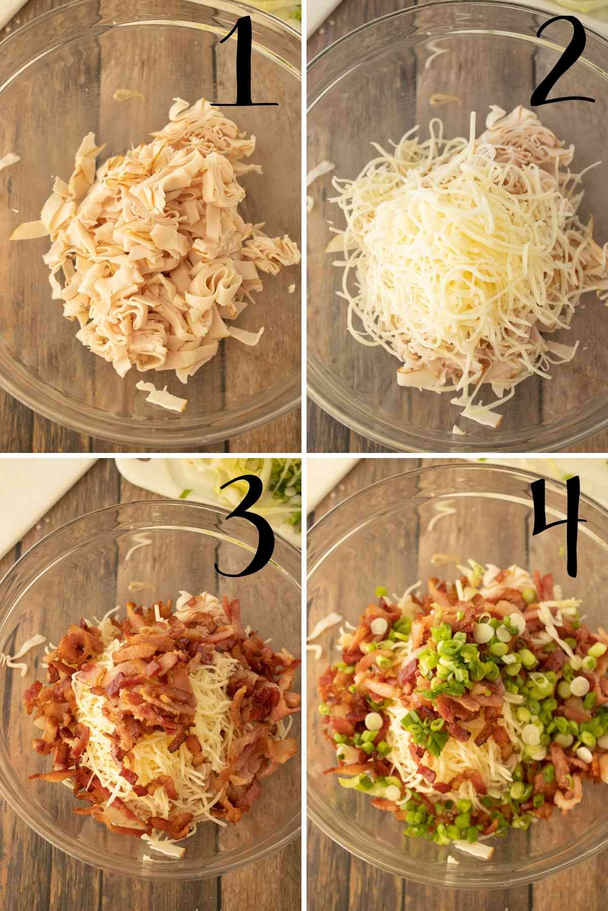 Sliced turkey meat, swiss, bacon and green onions in a bowl.