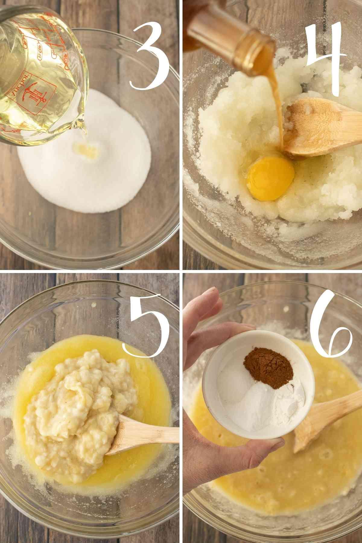 Mix sugar, oil, vanilla, bananas, baking powder, baking soda, cinnamon and salt together.