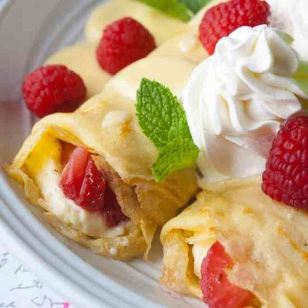 Two berry crepes ready to eat!