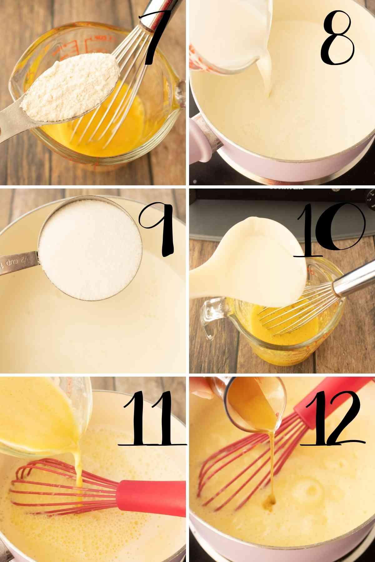 Making the vanilla sauce.