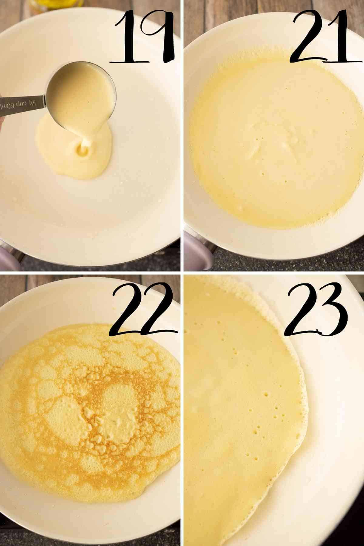 Cooking crepes in a frying pan.
