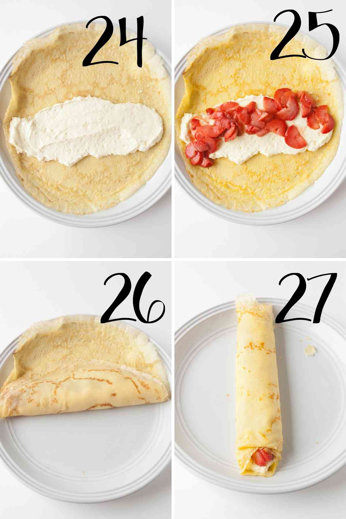 Filling and rolling up crepes.
