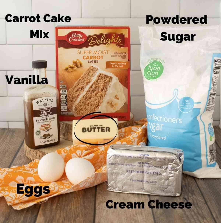 Ingredients for carrot cake oreos.