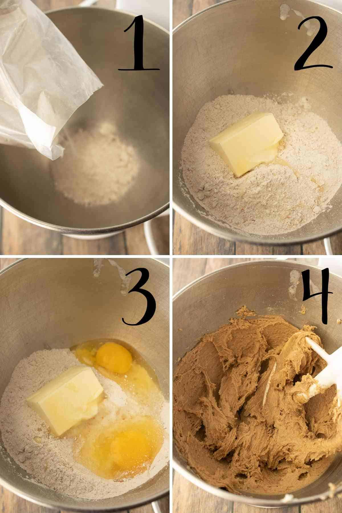 Cake mix, butter and eggs mixed in a mixing bowl.