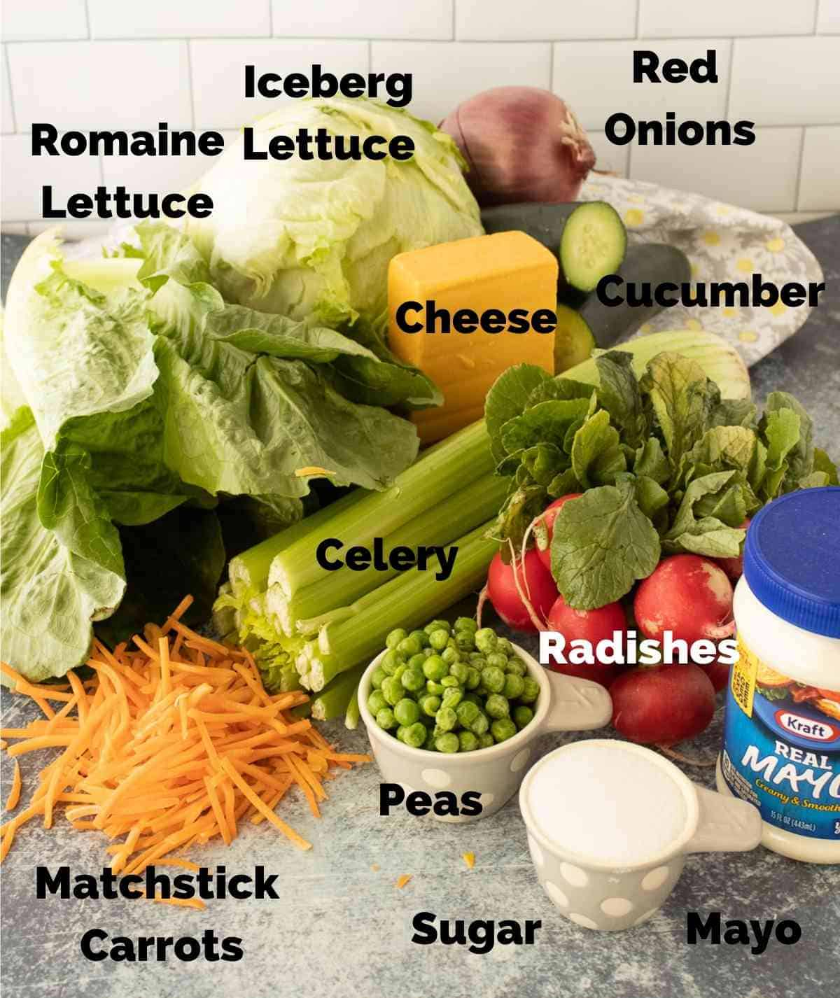 Healthy vegetable ingredients to be layered for this salad.