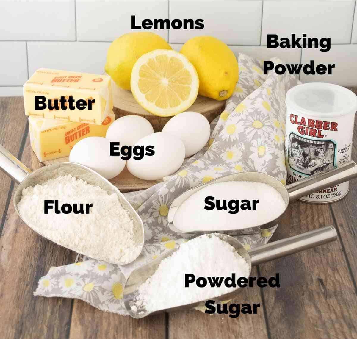 Ingredients for lemon bars.