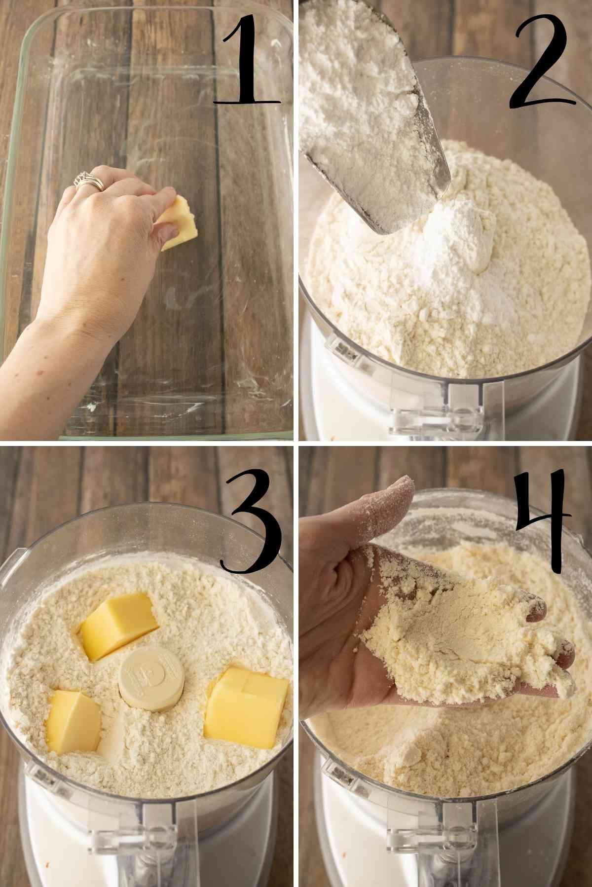 Butter baking dish and prepare shortbread crust.
