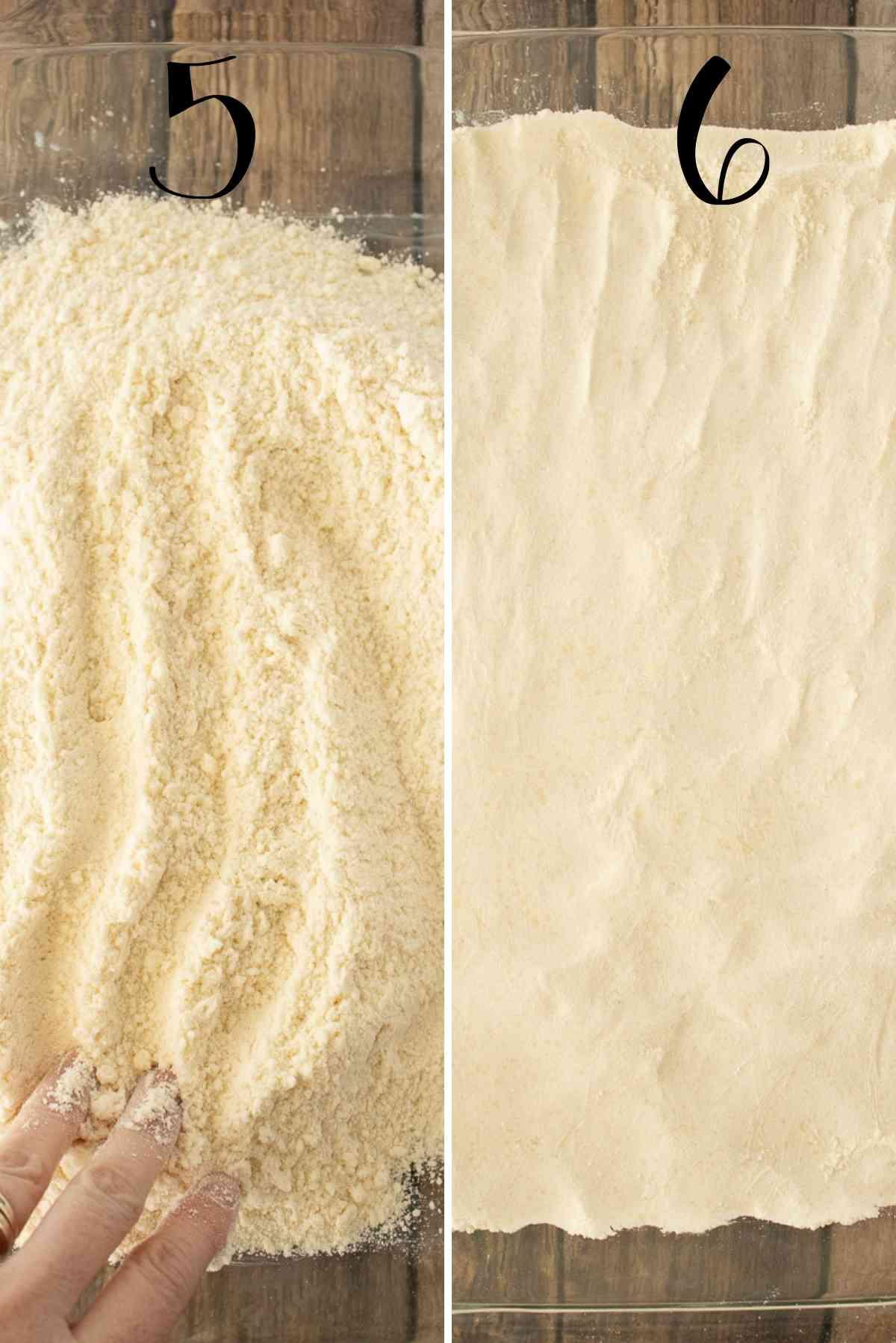 Press crust into prepared baking dish.