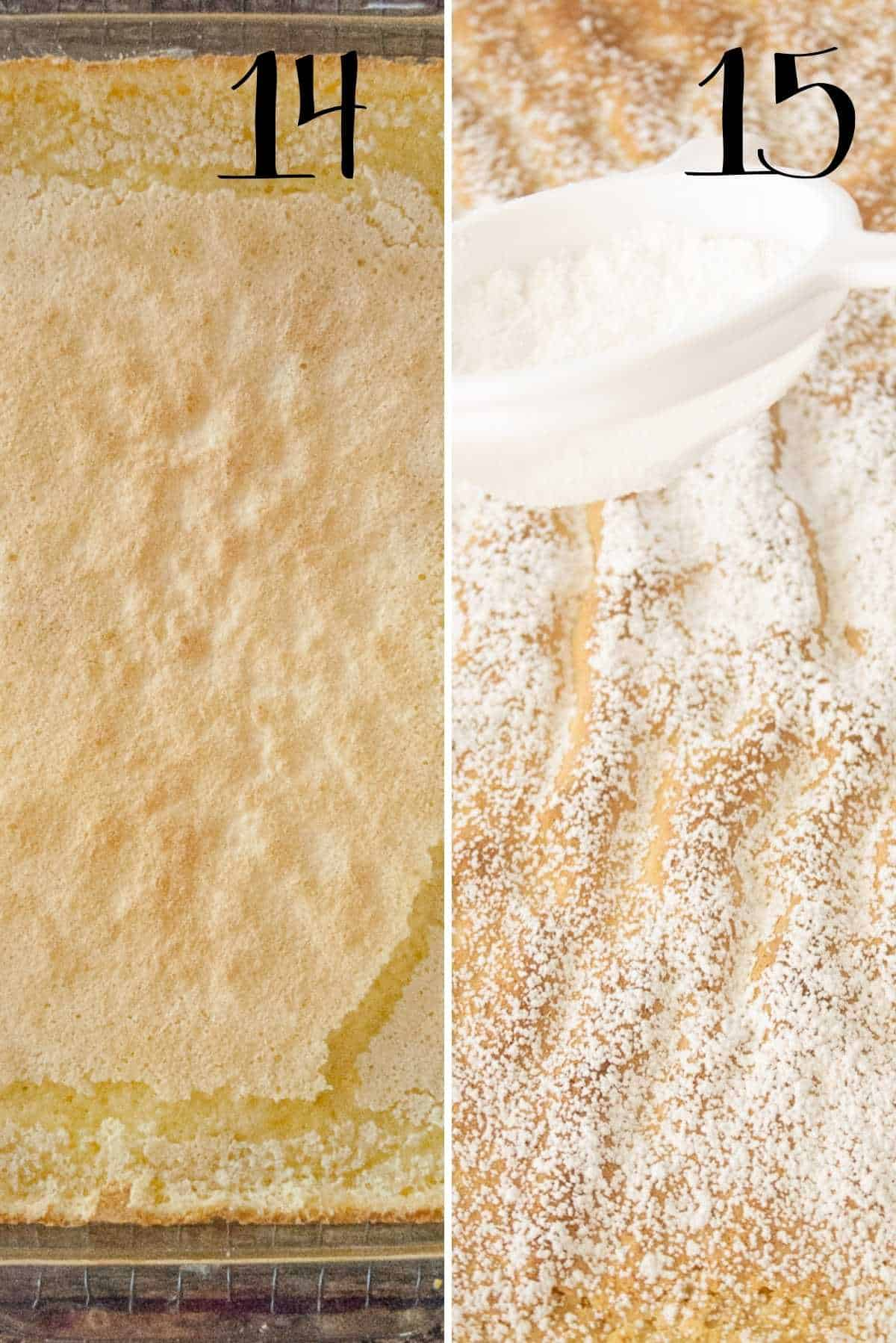 Sprinkle baked lemon bars with powdered sugar.
