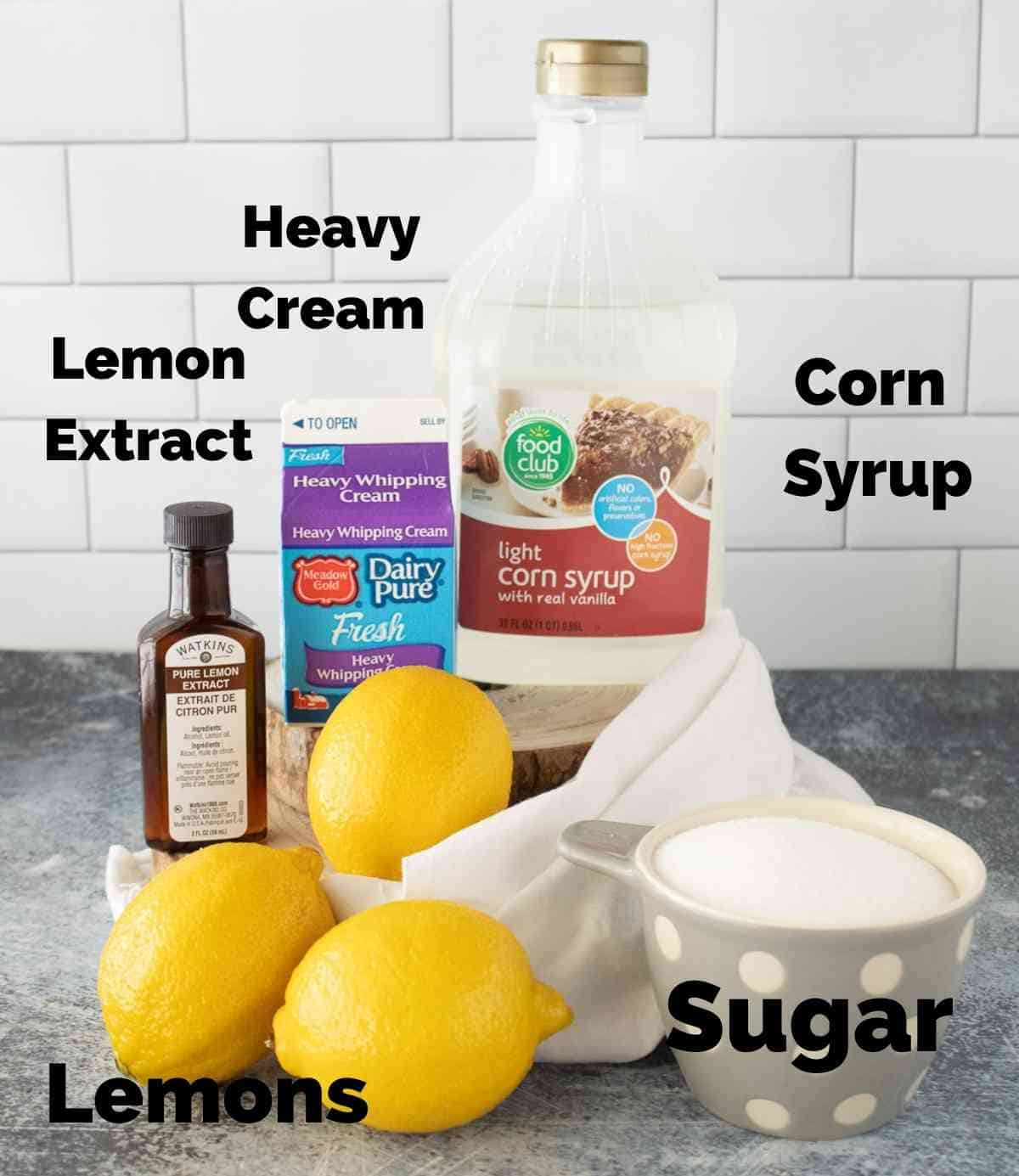 Ingredients for lemon cream syrup