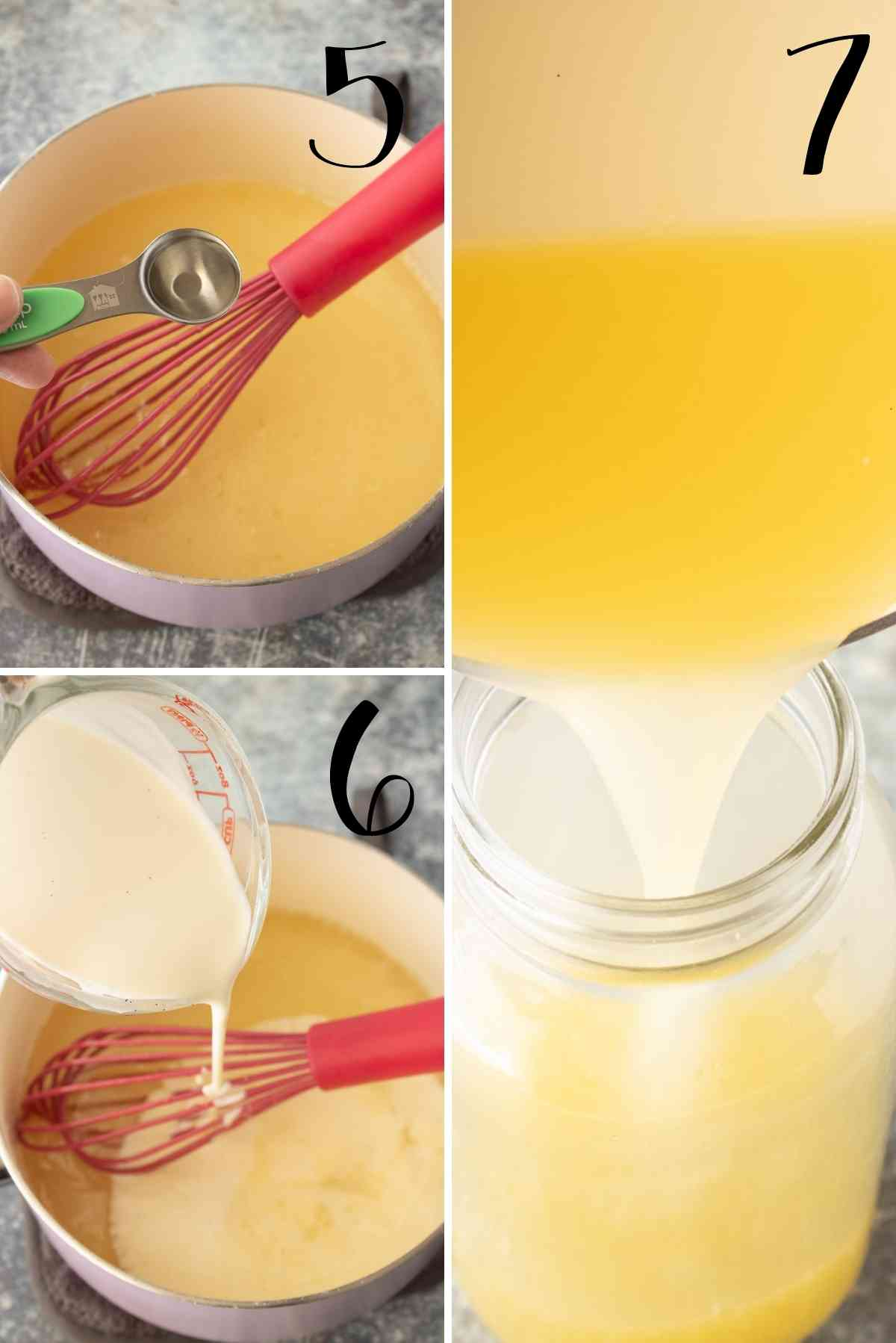 Lemon extract and cream added to finish this simple syrup.  Leftover syrup poured and stored in a jar.