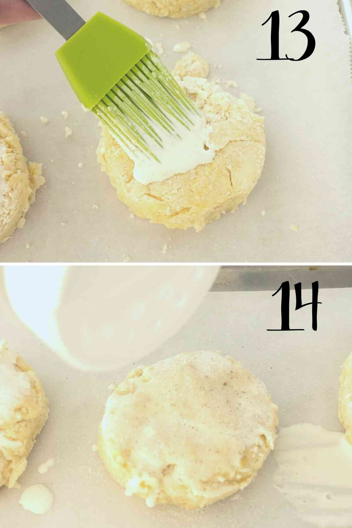 Brush tops with heavy cream and sprinkle with sugar.