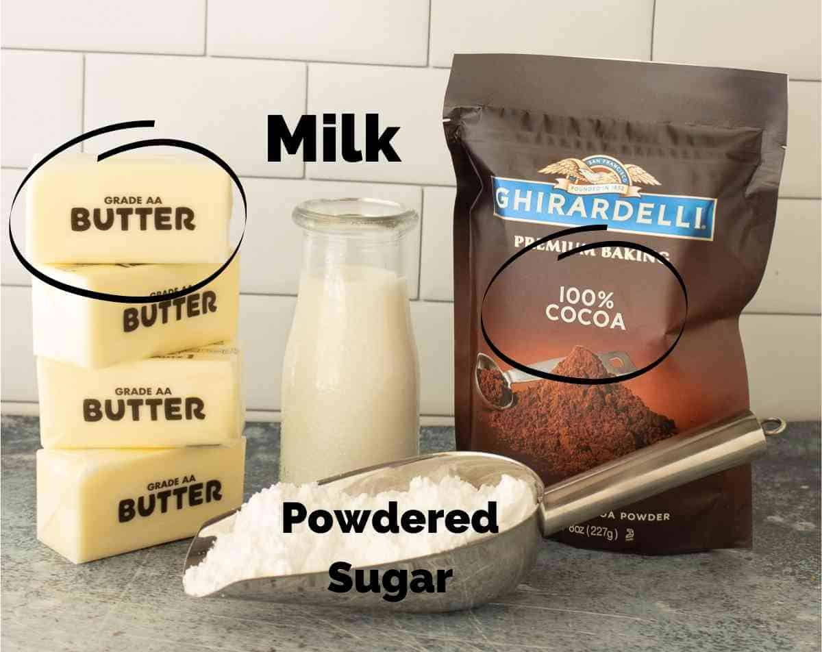 Ingredients for chocolate buttercream frosting.