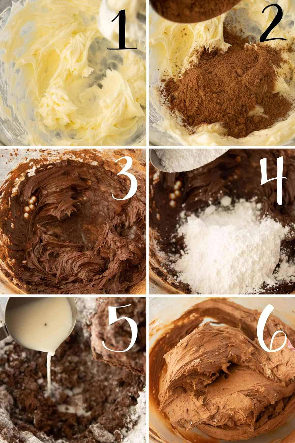 Step by step photos to make chocolate buttercream frosting.