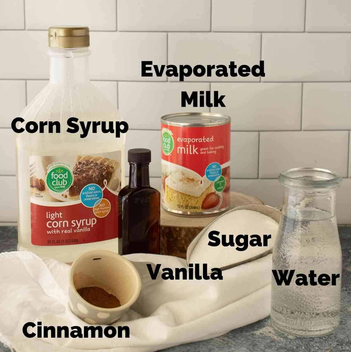 Ingredients to make cinnamon cream syrup.