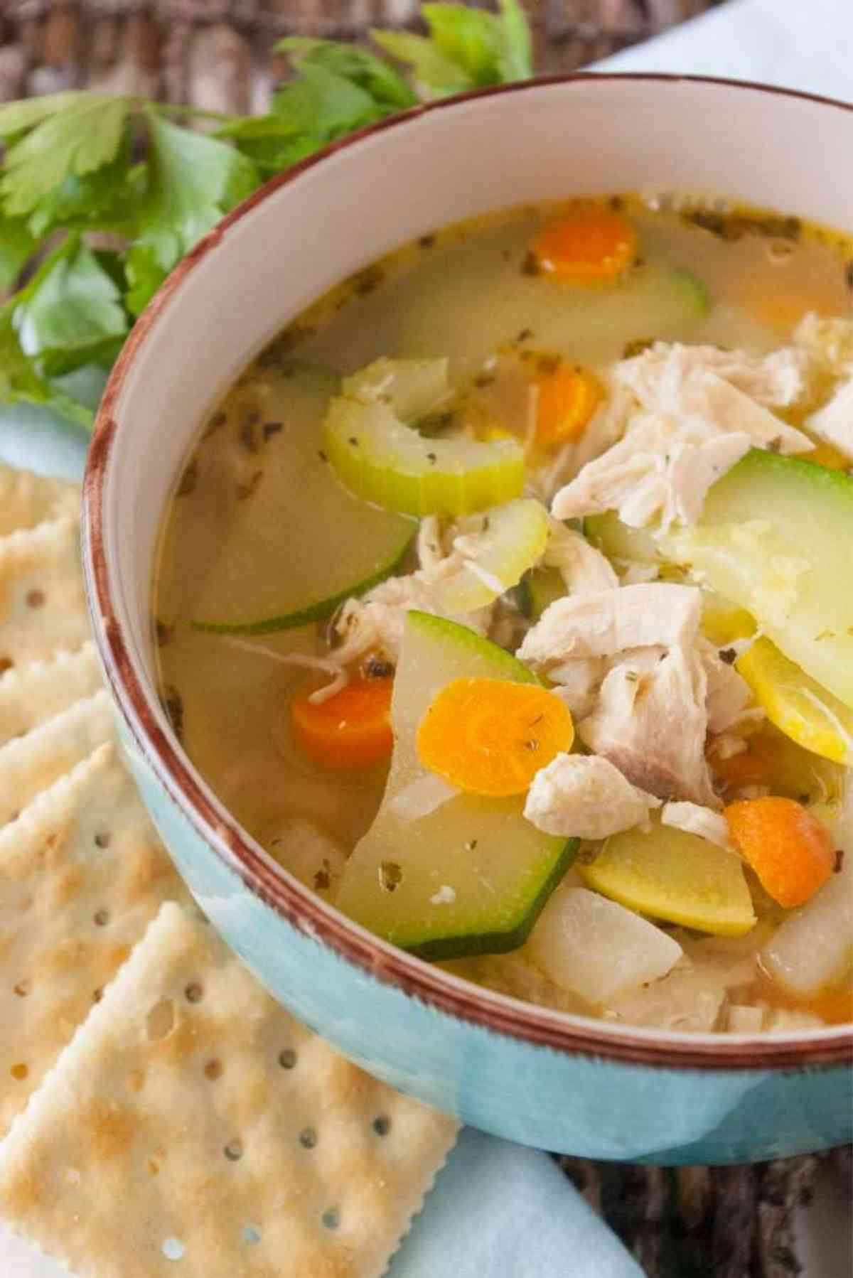 Big bowl of hot chicken soup full of zucchini, carrots, and more!