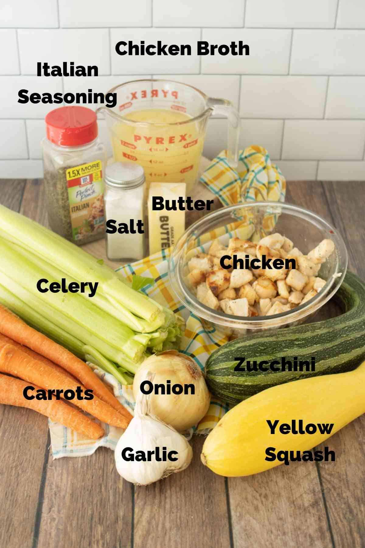 All the fresh veggies and other ingredients you'll need to make this easy recipe!