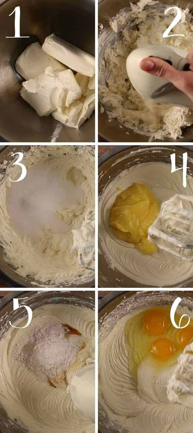 Steps 1-6 for mixing the cheesecake filling.