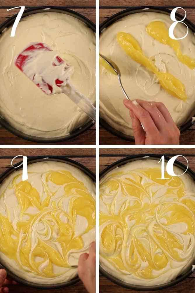 Steps 7-10 for swirling the lemon curd on top of the filling.