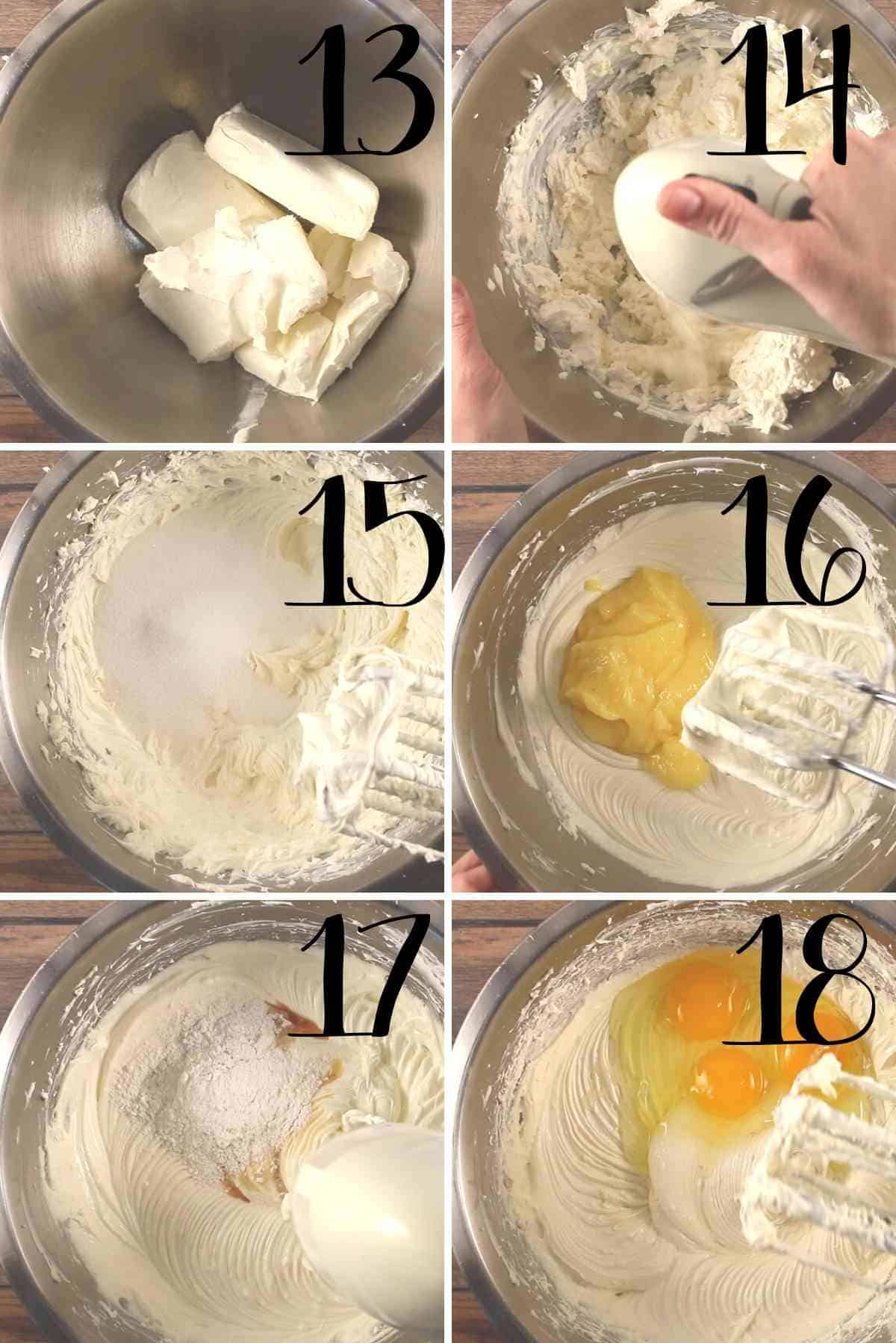 Making of cheesecake filling.
